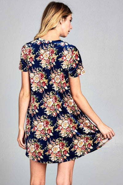 Velour Boho Flower Print Dress