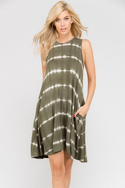 Sleeveless Olive Tye Dye Dress