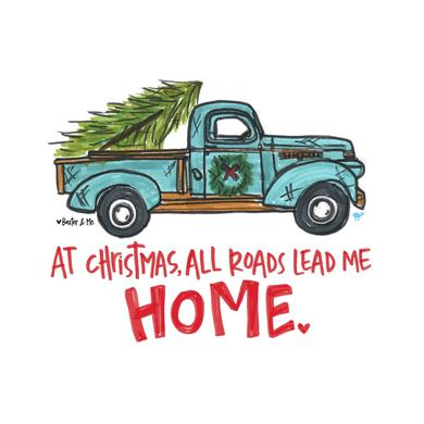 Christmas All Roads Lead Home Raglan Tee