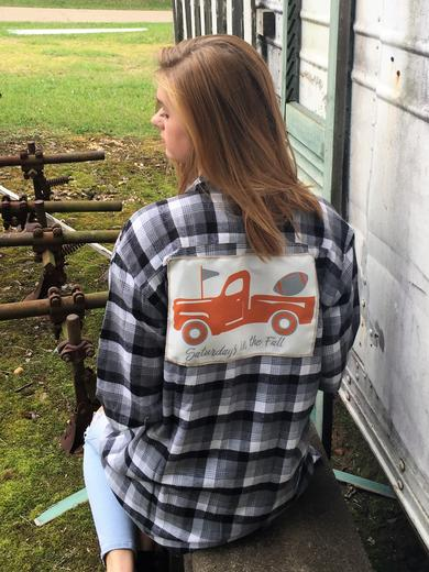 Flannel Gray Plaid with Orange Spirit Truck