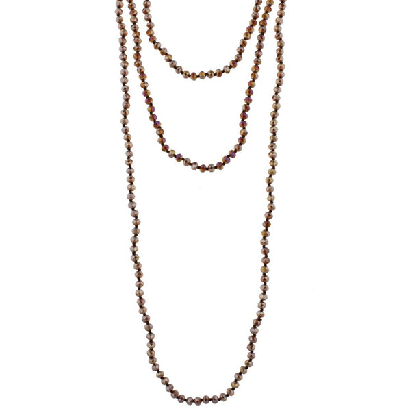 "80"" Brown handknotted necklace with faceted dark topaz beads"