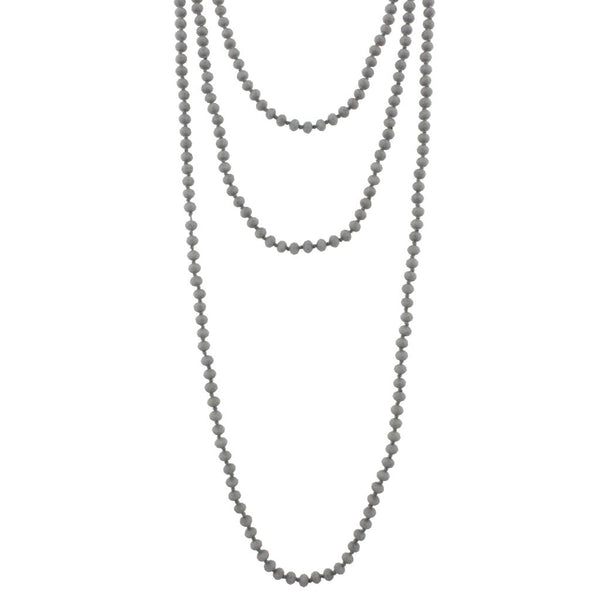 "80"" Grey hand knotted Necklace with faceted grey beads"