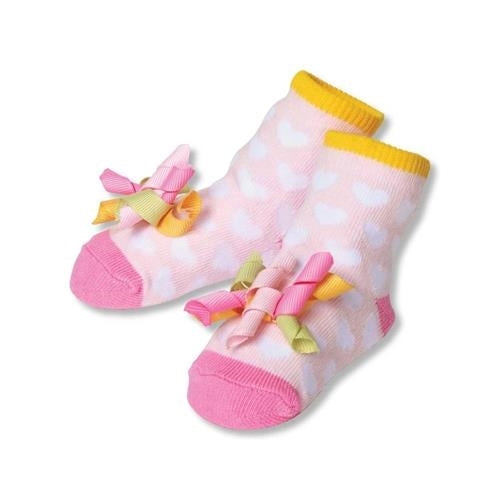 Heart Socks with Ribbons