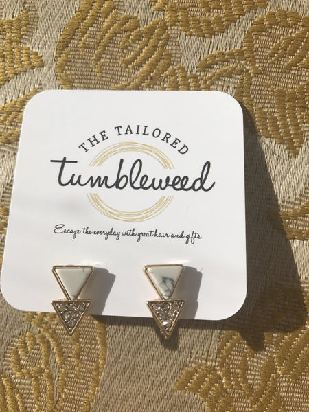 White double triangle studs