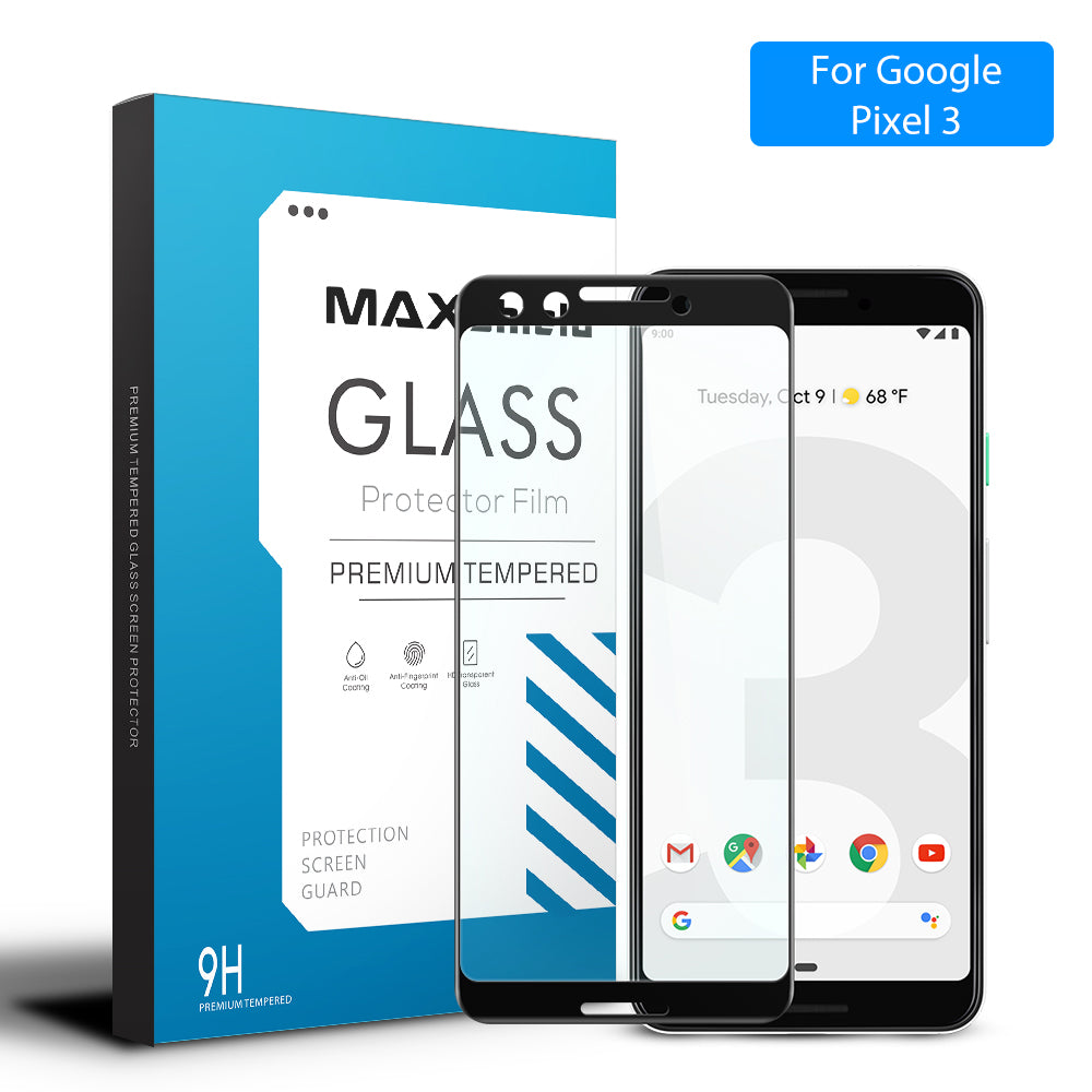 MAXSHIELD 3D Curved Tempered Glass Screen Protector For Google Pixel 3