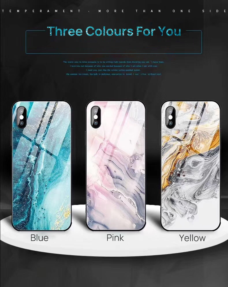 iPhone XS Case Shockproof Tough Glass Marble Soft Cover for Apple