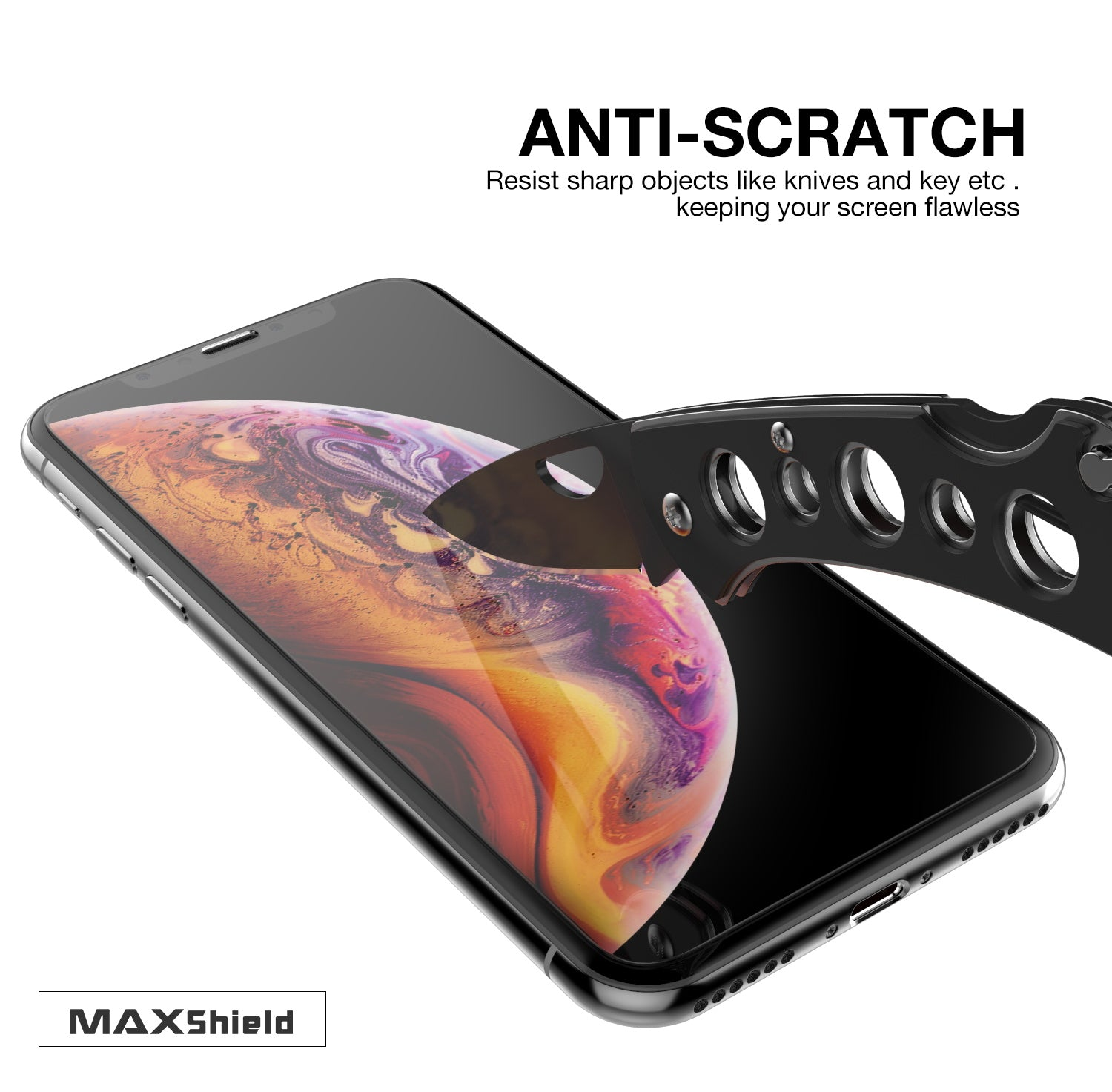 For Apple iPhone Xs Max, Maxshield HD 9H Tempered Glass Screen Protector