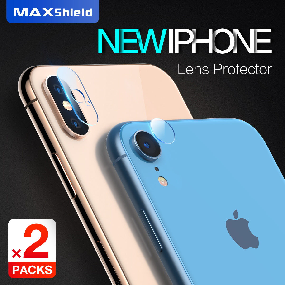 MAXSHIELD iPhone Xs Max Camera Lens Tempered Glass Screen Protector