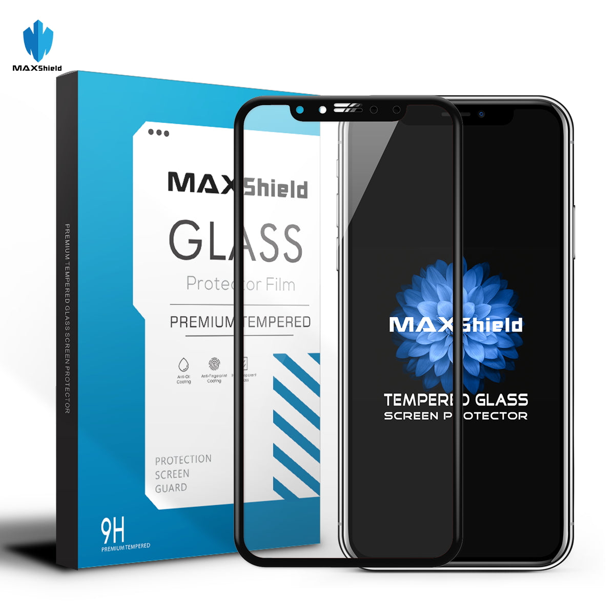 MAXSHIELD FULL TEMPERED GLASS SCREEN PROTECTOR FOR APPLE IPHONE X