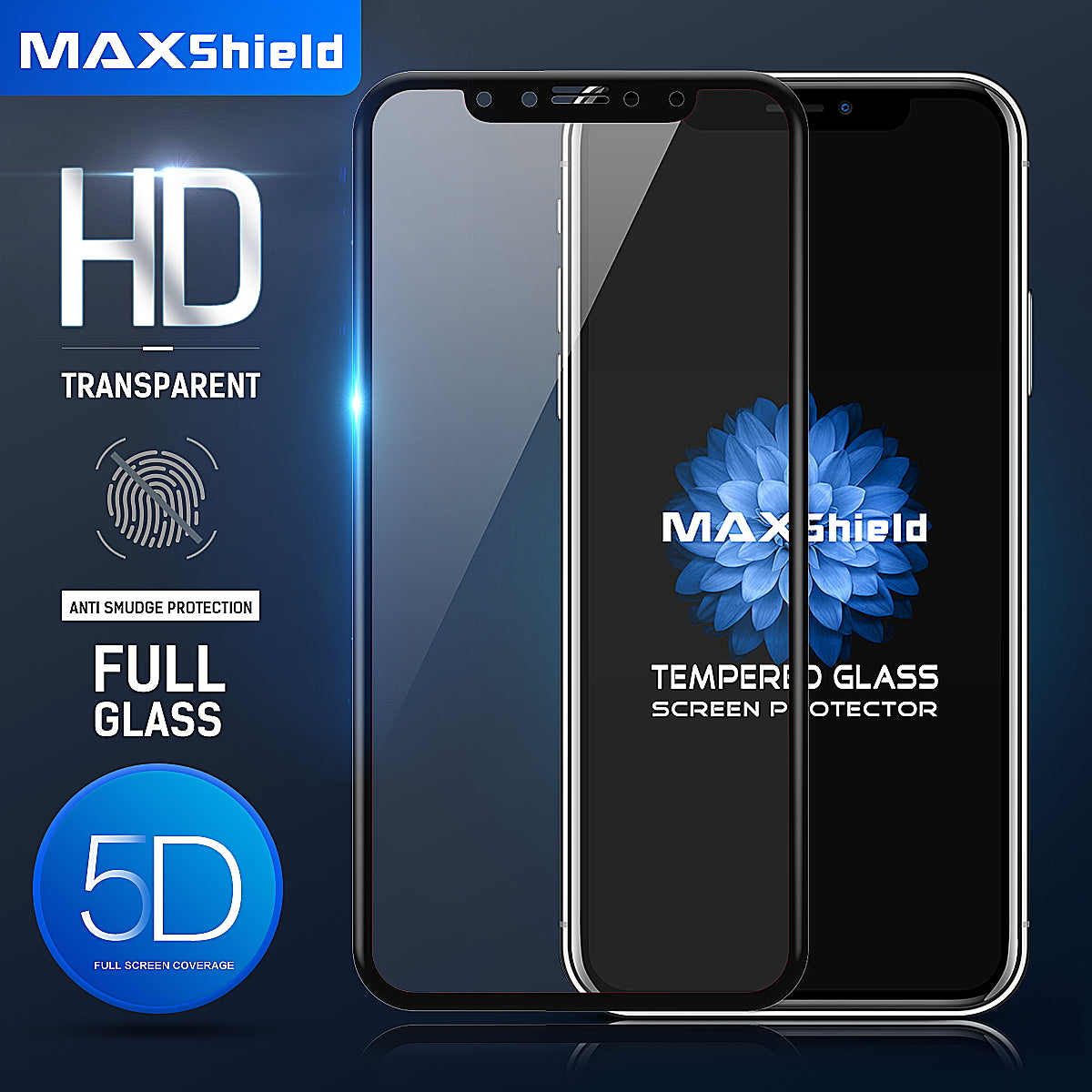 MAXSHILD 5D Full Coverage Glass Screen Protector For Apple iPhone 7 (Black)