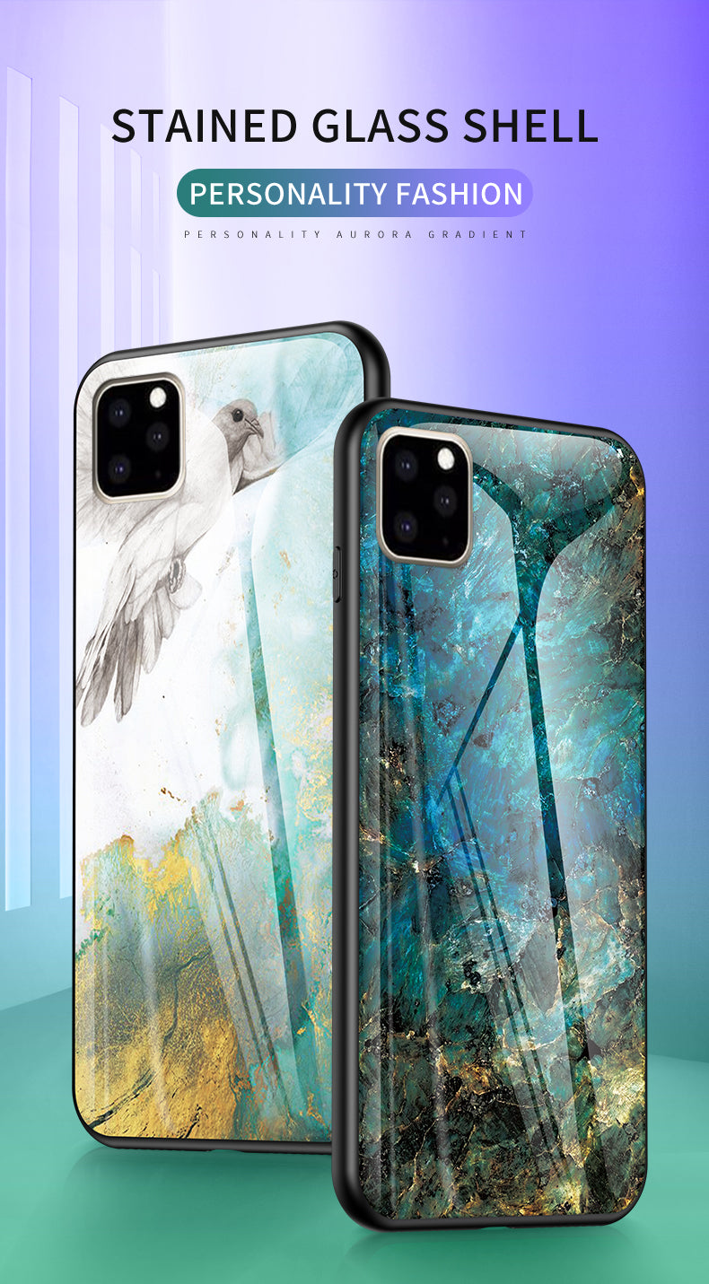 iPhone XI 11 Case Shockproof Tough Glass Marble Soft Cover for Apple