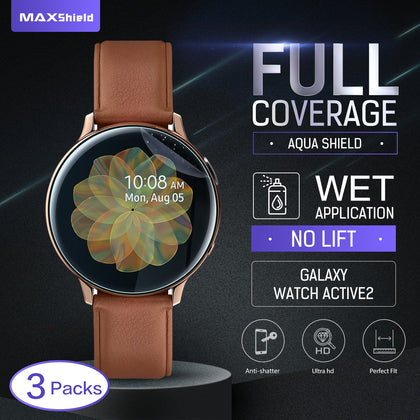 Maxsheld Samsung Galaxy Watch Active 2 Full Coverage Waterproof Screen Protector-44 MM