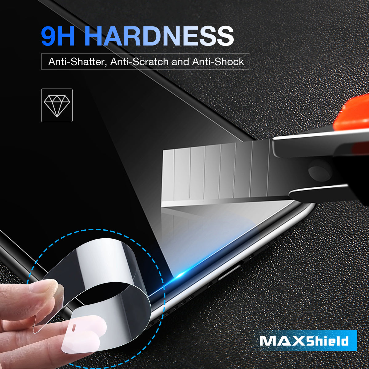 For iPhone 8,  Maxshield 0.1mm soft flexible  9H Tempered Glass Screen Protector