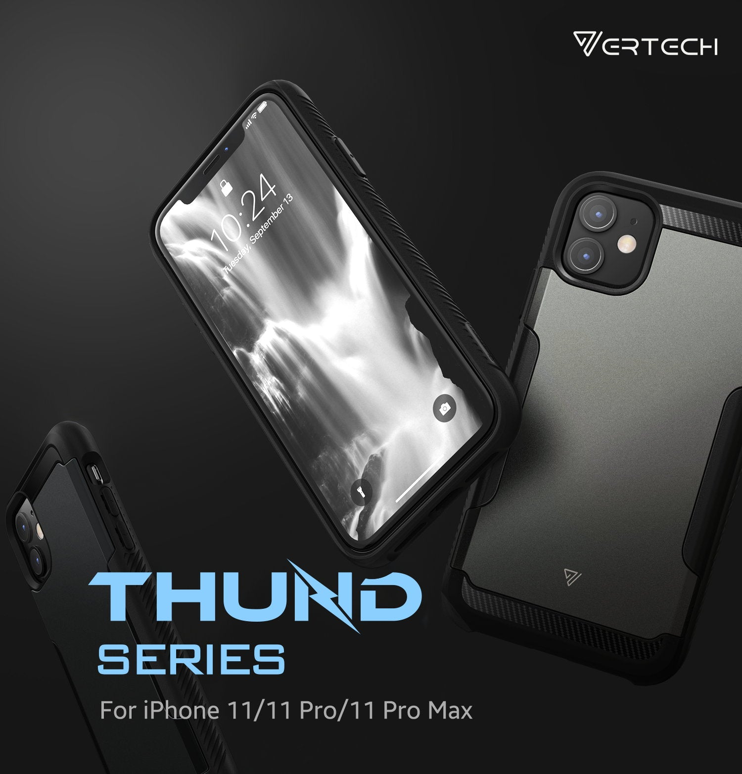 iPhone 11 Case VERTECH Heavy Duty Shockproof Slim Hard Armor Back Cover-Black