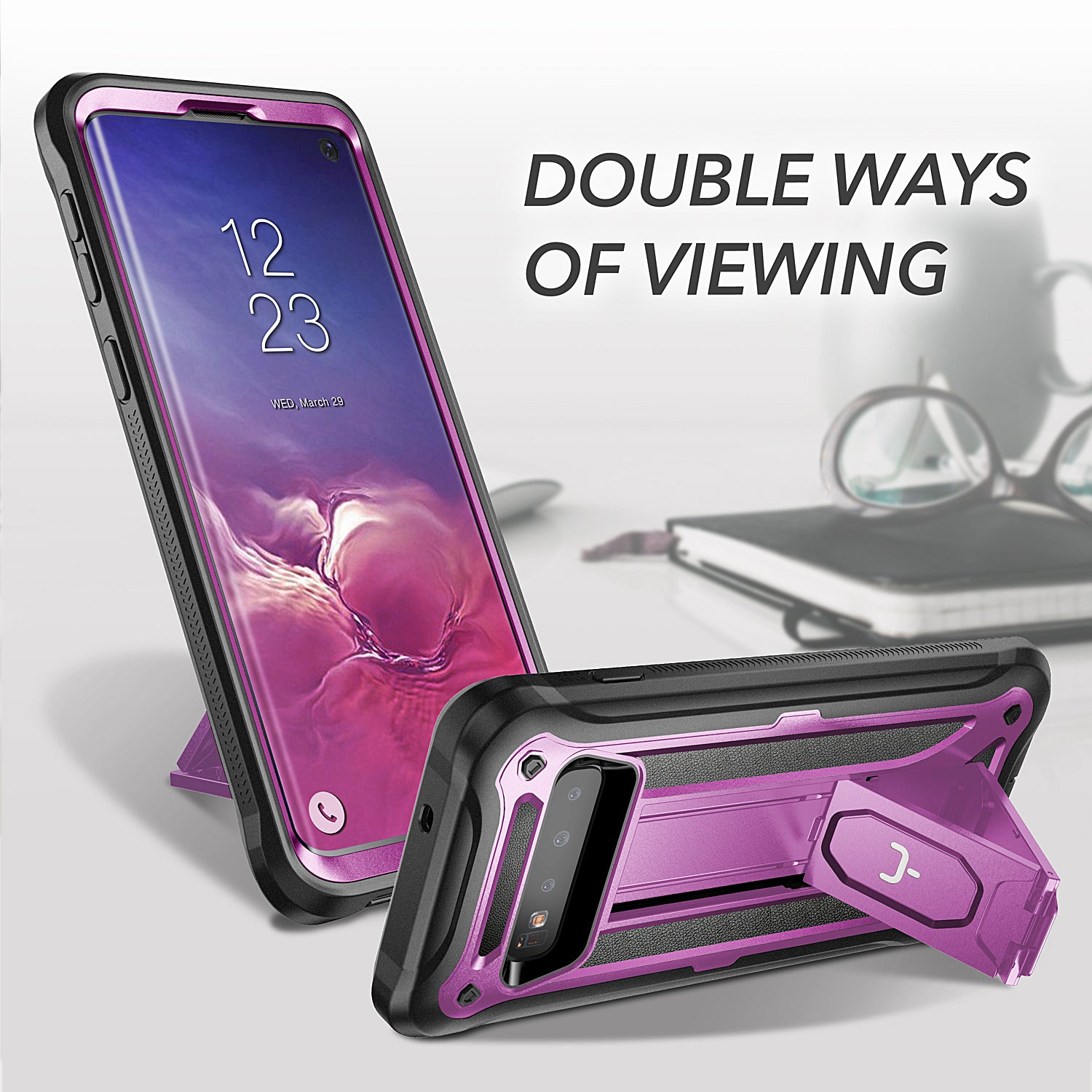 YOUMAKER® Samsung Galaxy S10 HEAVY DUTY Shockproof KickStand Case Cover (Purple)