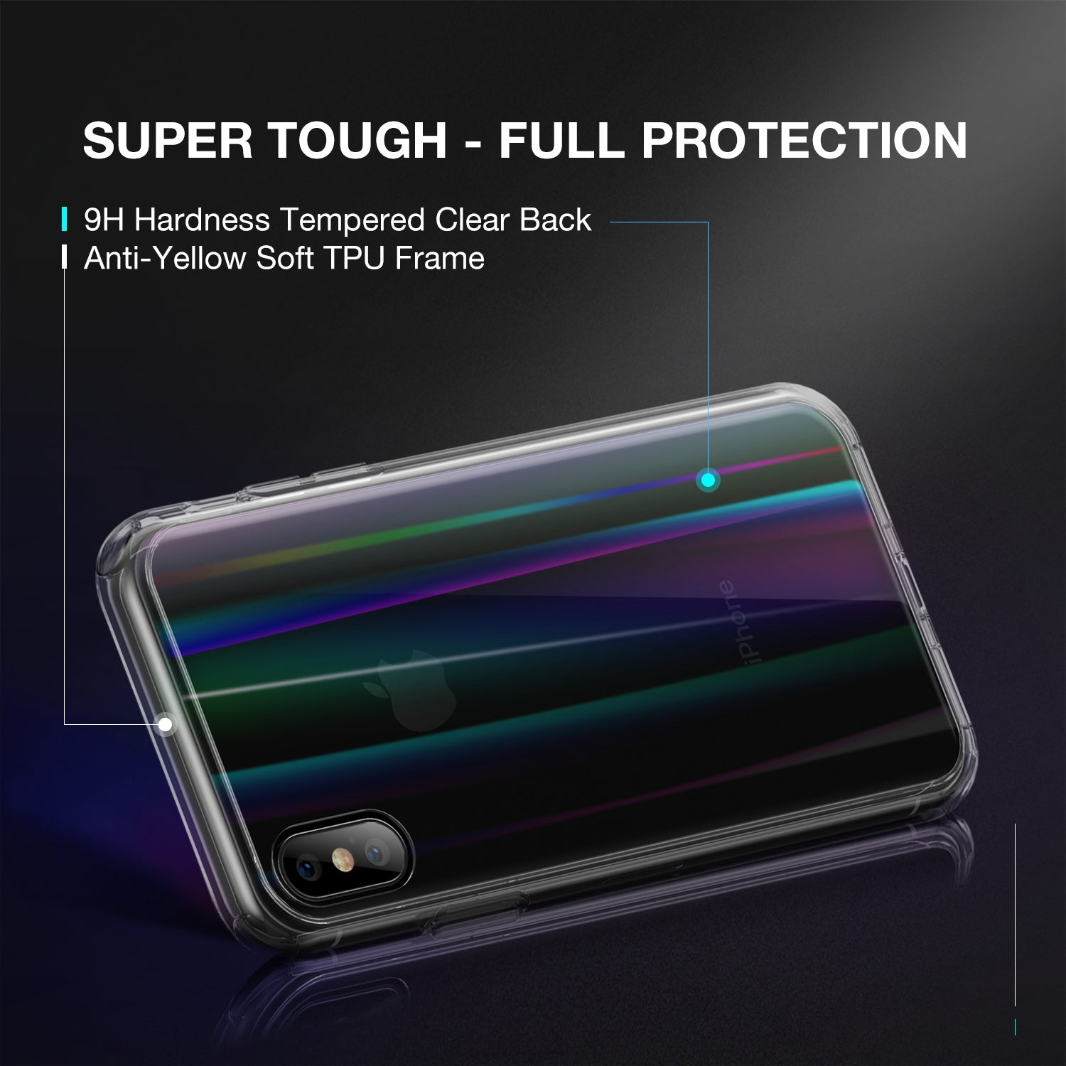 iPhone XR Case Cover, Laser Aurora Crystal Slim Clear Bumper