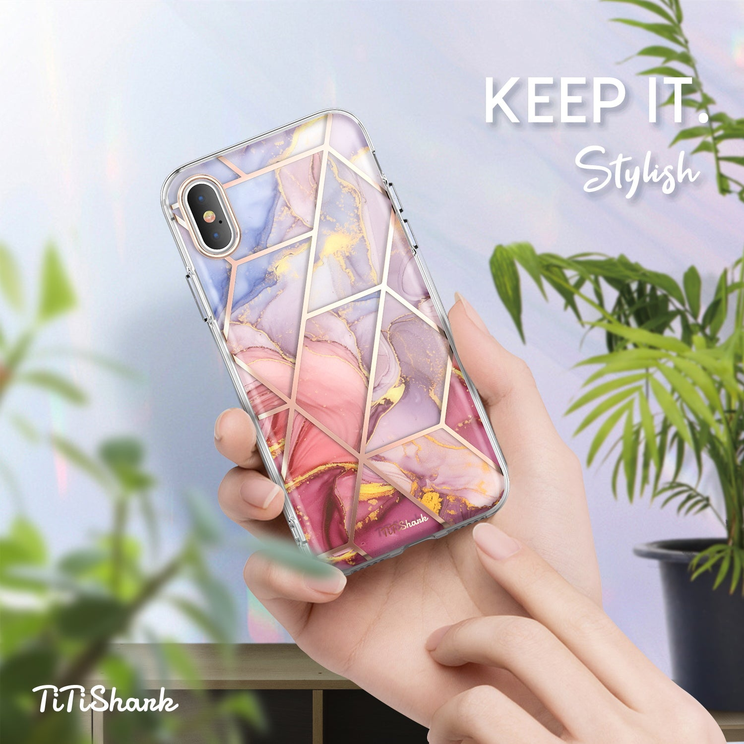 TiTiShark For iPhone X/XS Case Clear Marble Shockproof Case-Purple