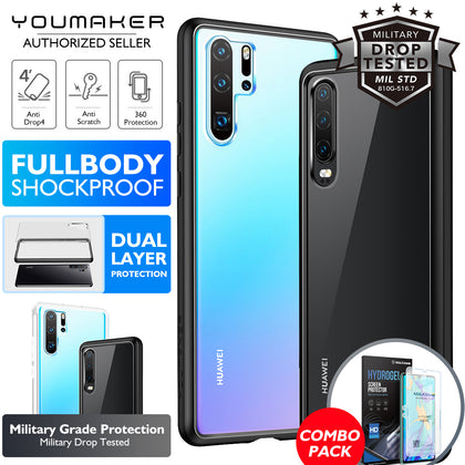 YOUMAKER® Huawei P30 Shockproof Slim Bumper Crystal Case Cover-Black