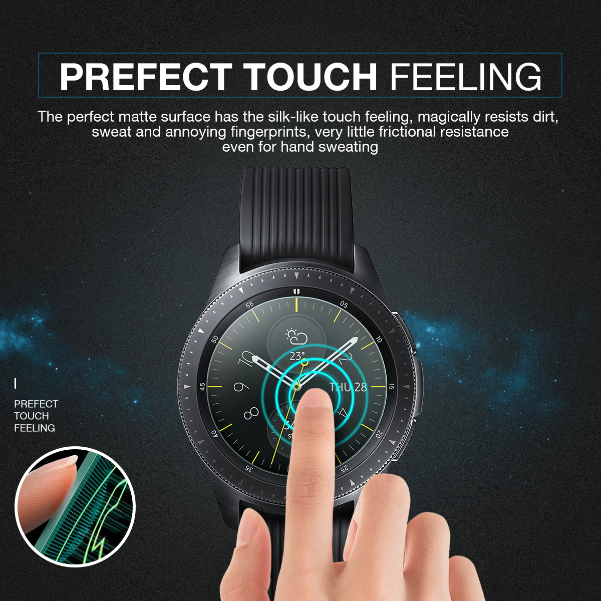 Samsung 2018 Galaxy Watch 46mm Smartwatch Tempered Glass Screen Protector