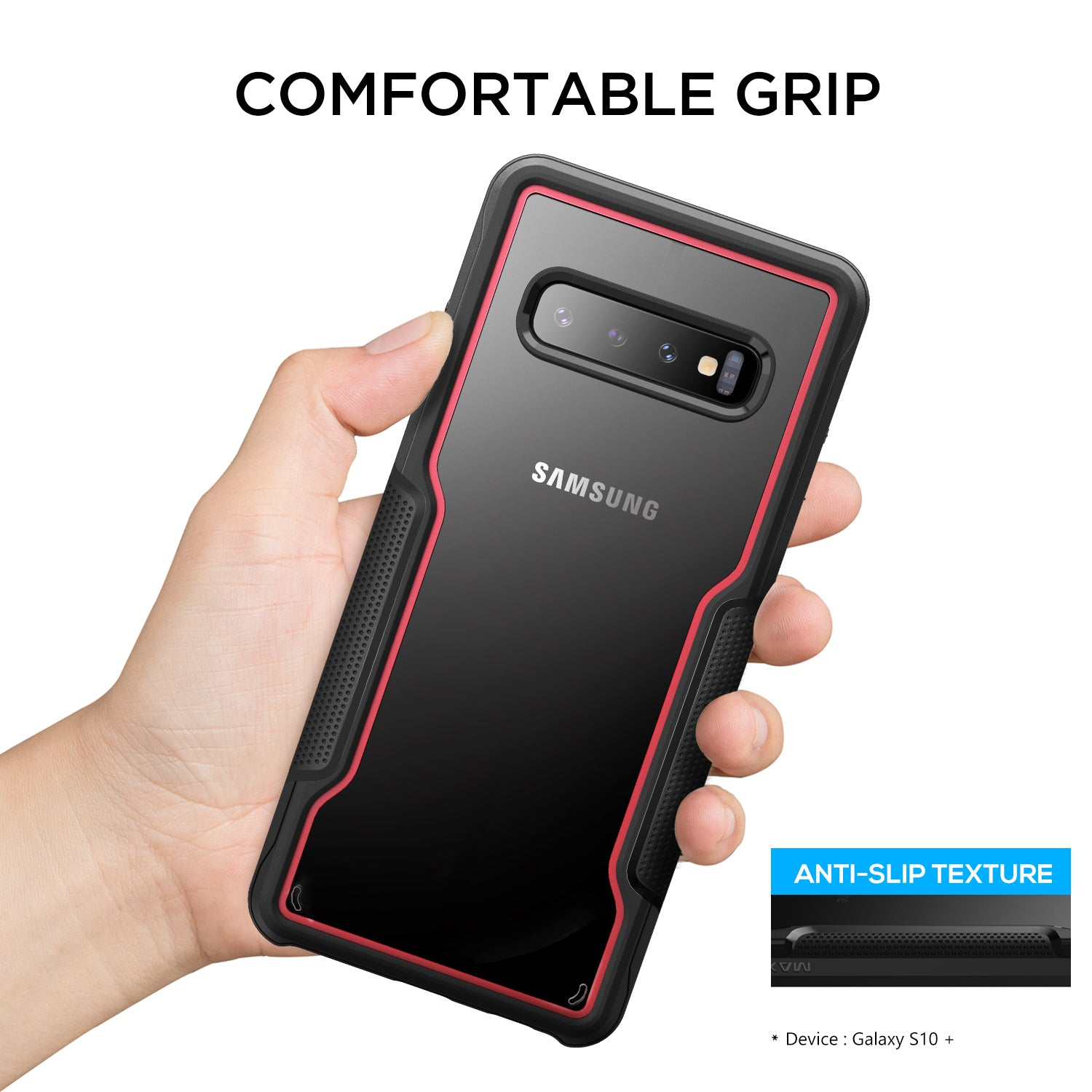 Galaxy S10 Case, Heavy Duty Shockproof Slim Clear Protection Cover-Red