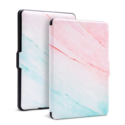 Premium Quality Colorful Painting Leather Cover for Amazon Kindle Paperwhite - Pink Marble