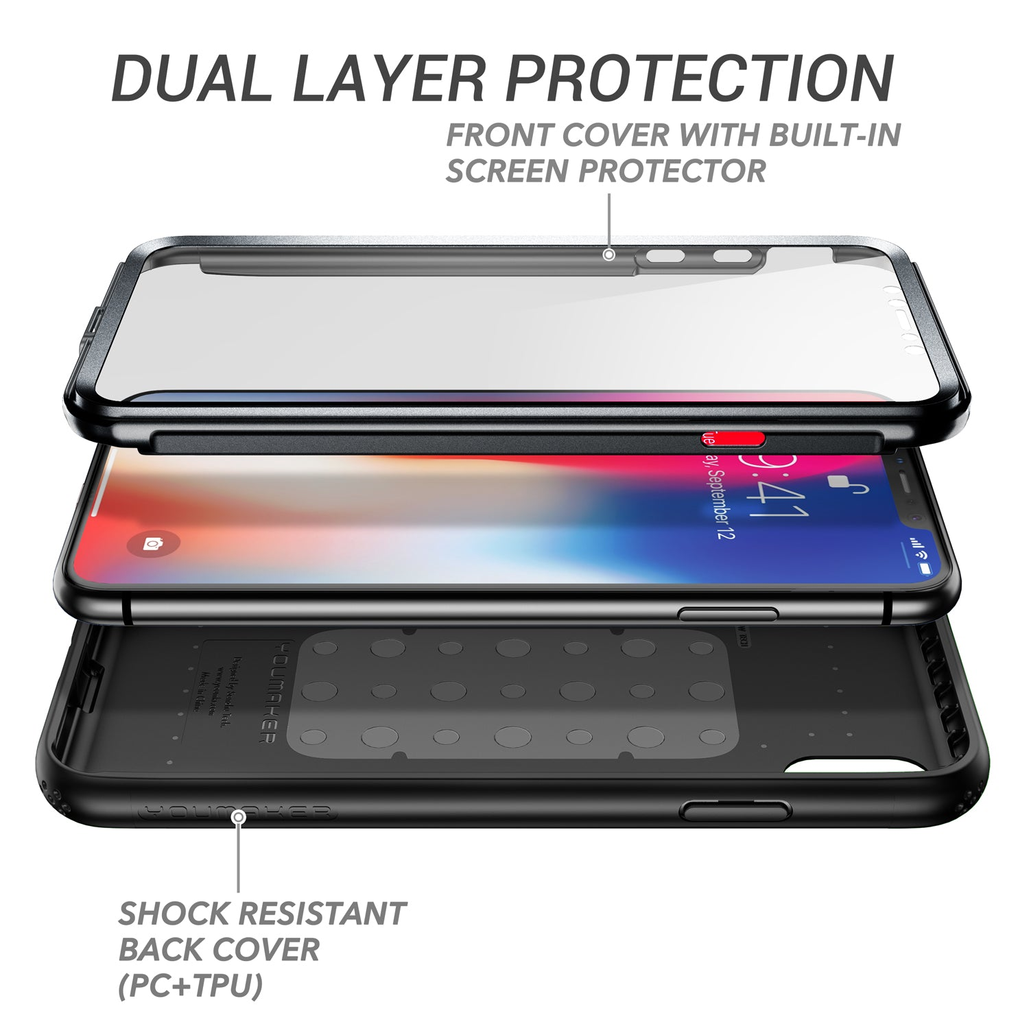 YOUMAKER iPhone Xs Heavy Duty Shockproof Full-body Case Cover