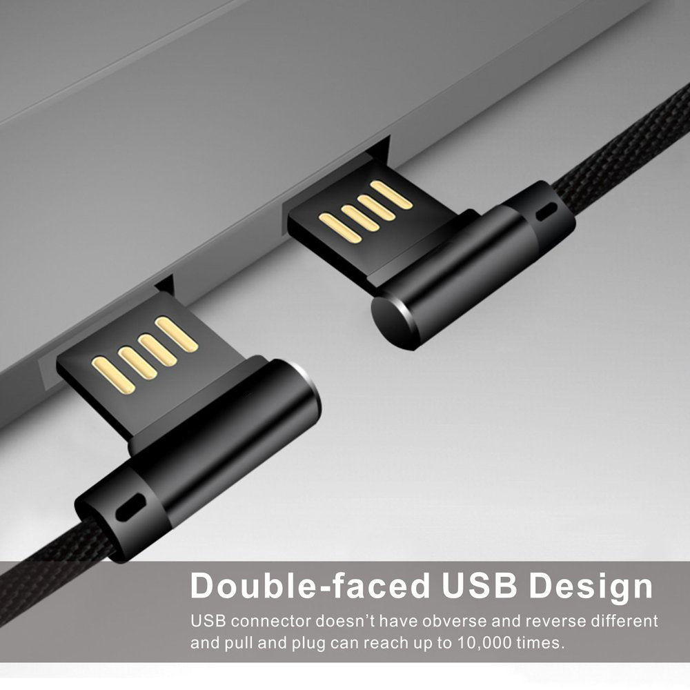 Lightning Type C to USB Cable,Elbow Double-faced 90 Degree 2.4A Fast Charging