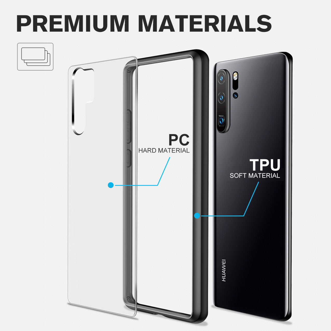 YOUMAKER® Huawei P30 Pro Shockproof Slim Bumper Crystal Case Cover-Clear