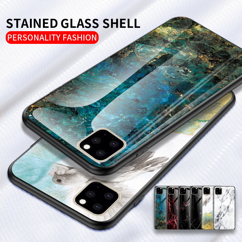 iPhone XI 11 Pro Max Case Shockproof Tough Glass Marble Soft Cover for Apple