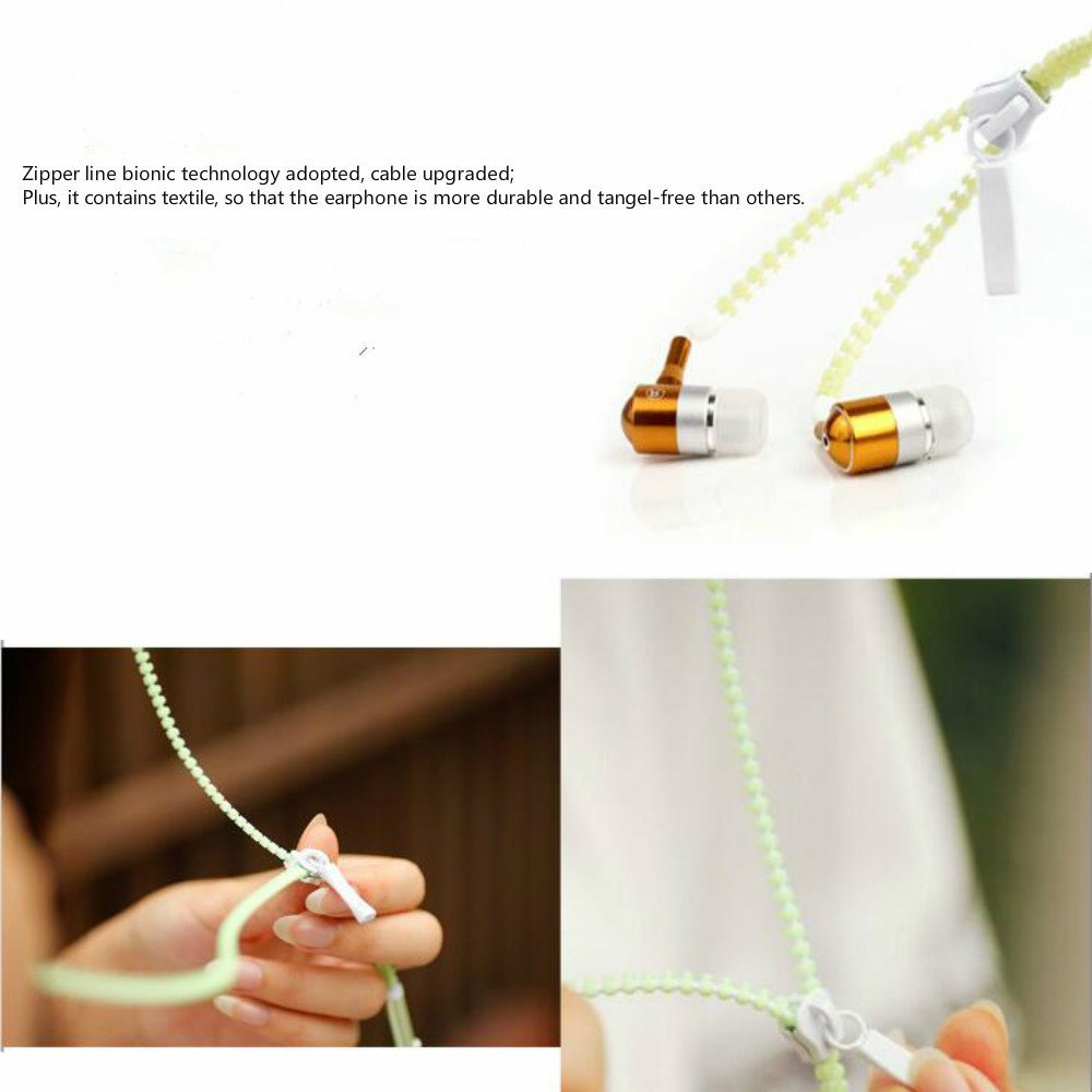 Luminous Zipper Earphone Glow Wired In-ear Headphone Night Lighting Glowing Headset with Microphone
