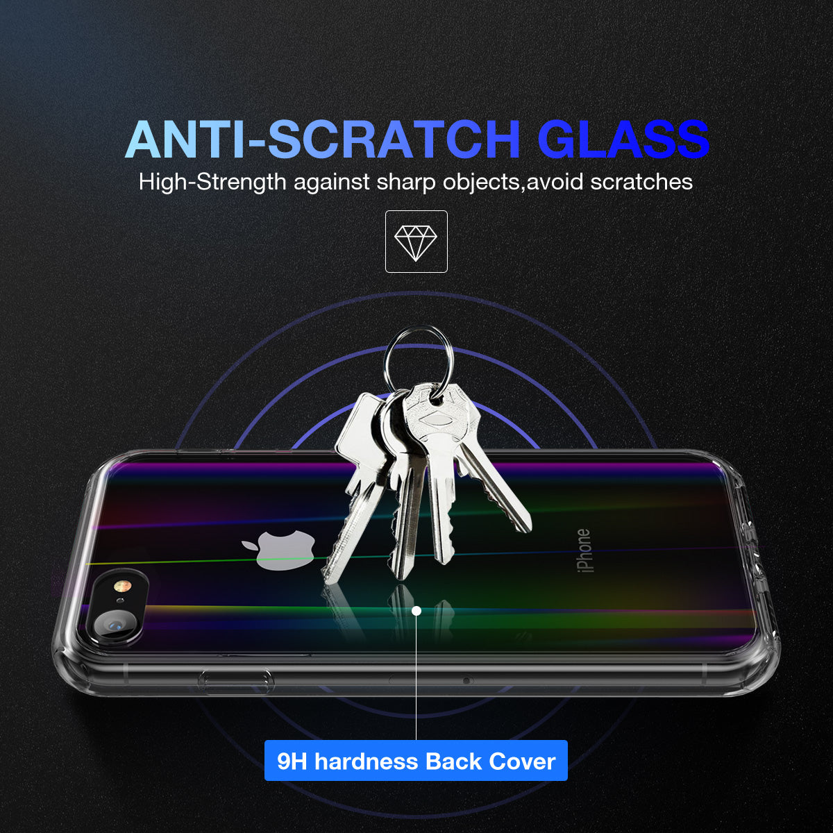 iPhone 8 Case Cover, Laser Aurora Crystal Slim Clear Bumper For Apple