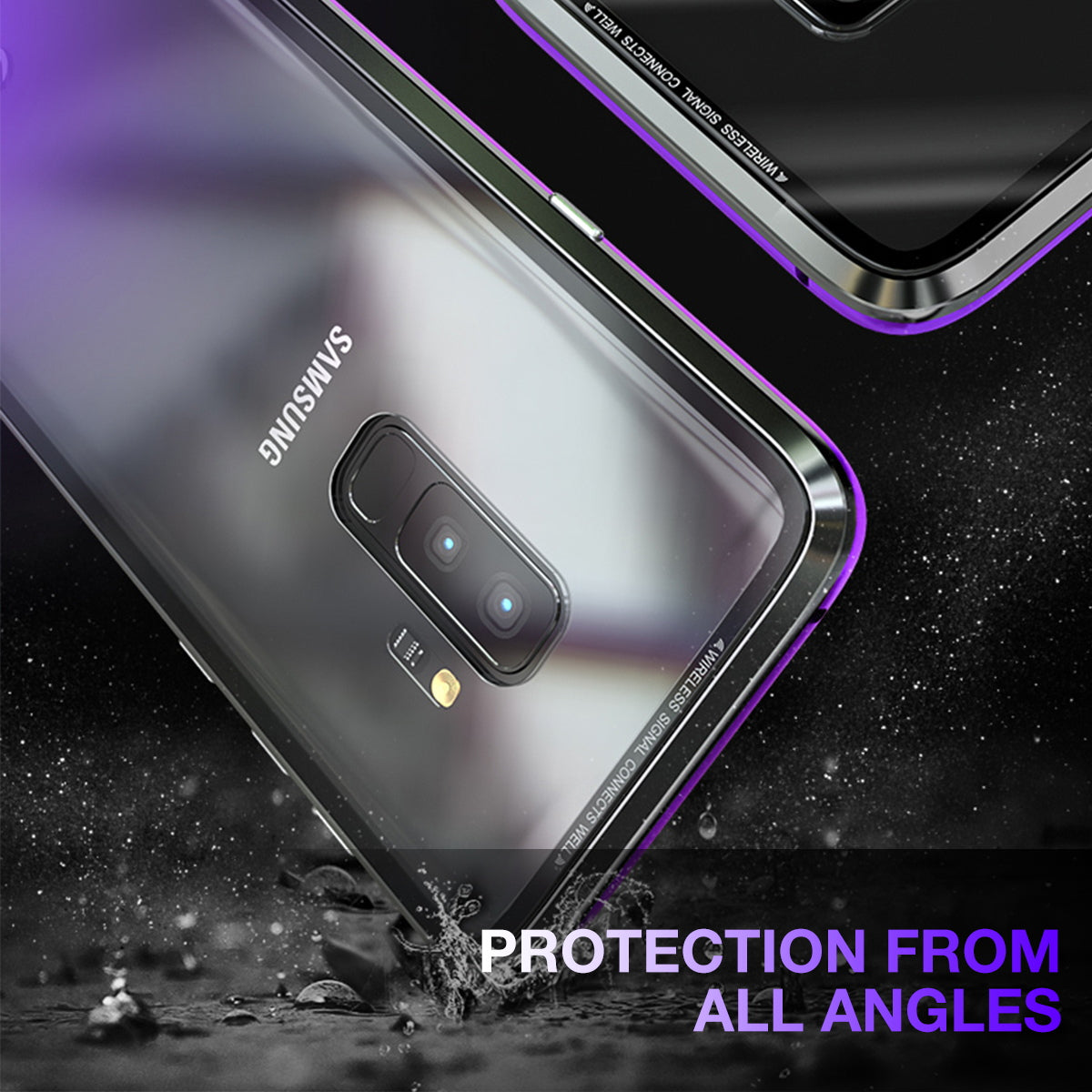 Luxury Magnet Metal Frame Tempered Glass Back Case Cover For Galaxy S9