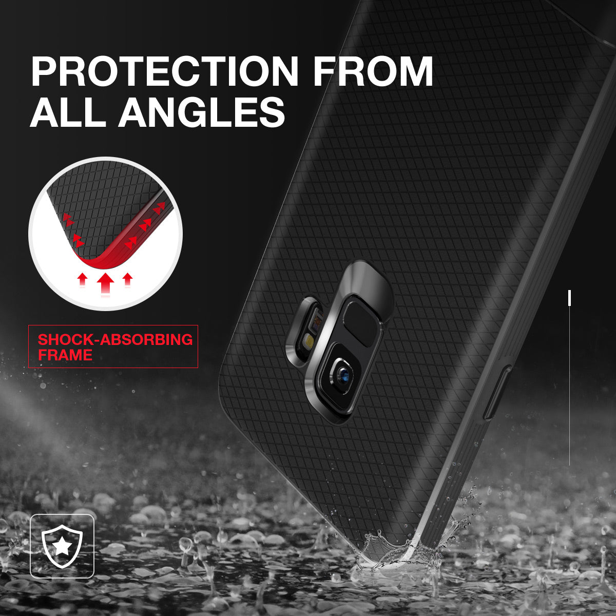 Galaxy S9 Case, Vertech [FlexPro+ Series]  Slim Protective Shock Absorbing TPU Rugged Protection Textured Grip Black and Easy Grip Design for Samsung