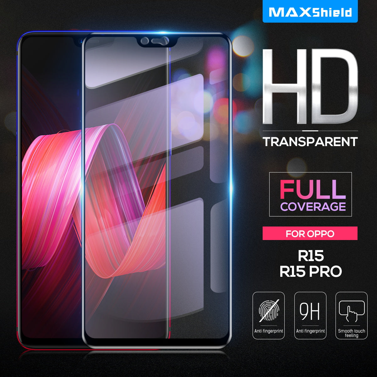 OPPO R15 Screen Protector, Maxshield 3D FullCoverage Tempered Glass