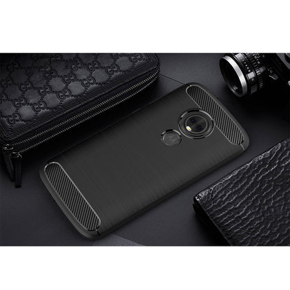 Motorola Moto E5 Case, MAXSHIELD Slim-Fit Carbon Fiber HEAVY DUTY Bumper Cover