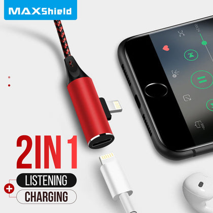 2IN1 Lightning Splitter Cable Adapter Charging Headphone Jack Cable Fr iPhone X 8 7