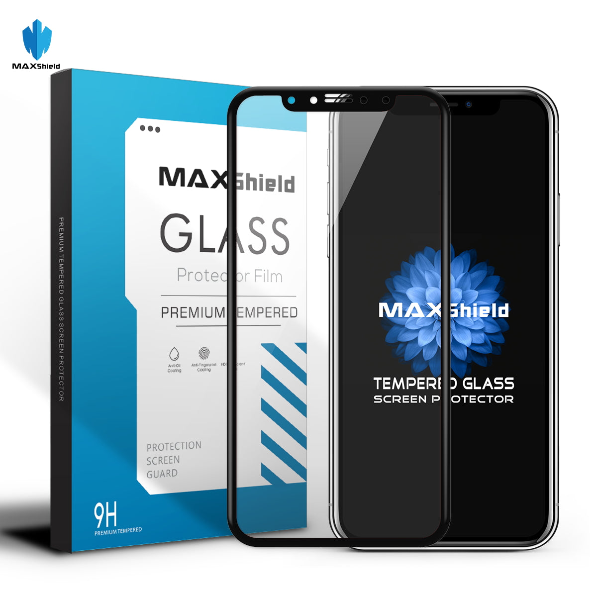 MAXSHILD 5D Full Coverage Glass Screen Protector For Apple iPhone 8 Plus ( Black)