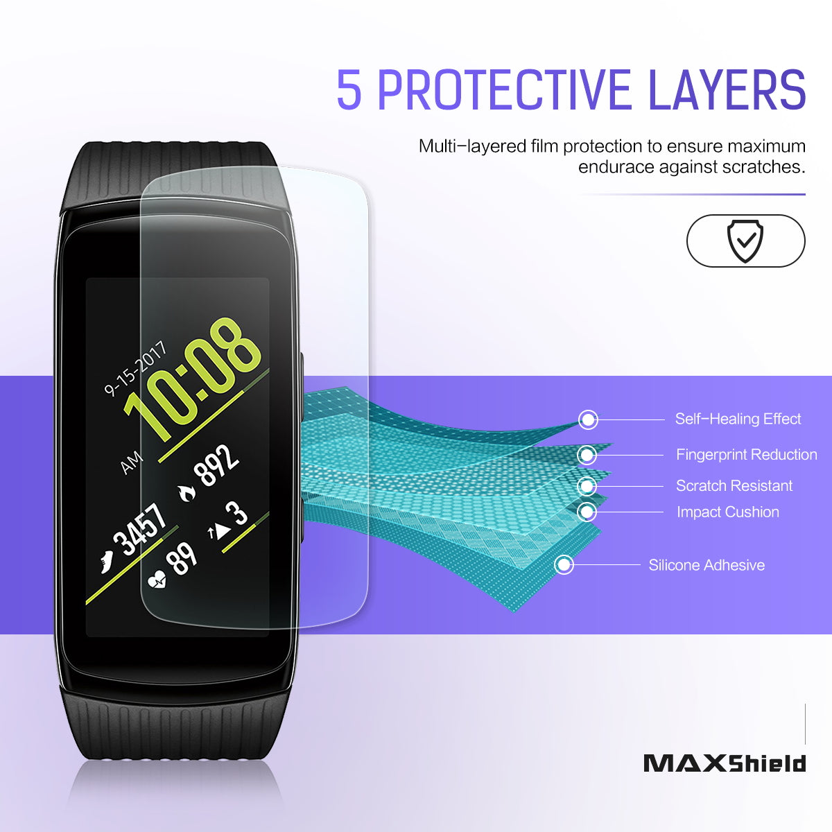 Samsung Gear Fit 2 Pro Full Coverage Screen Protector, MaxShield Aqua HD Film