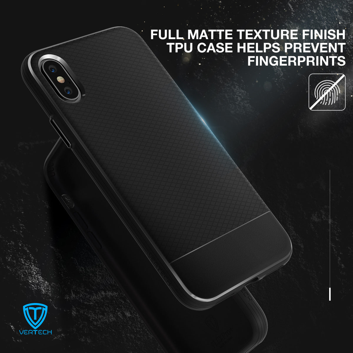 iPhone X Case, Vertech [FlexPro+ Series]  Slim Protective Shock Absorbing TPU Rugged Protection Textured Grip Black and Easy Grip Design for Apple iPhone X