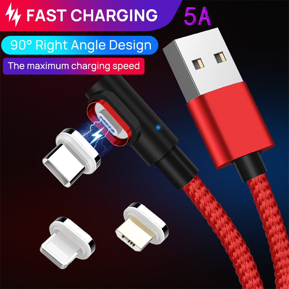 90 Degree 5A USB Magnetic Data Charging Cable Fast Charger For iPhone
