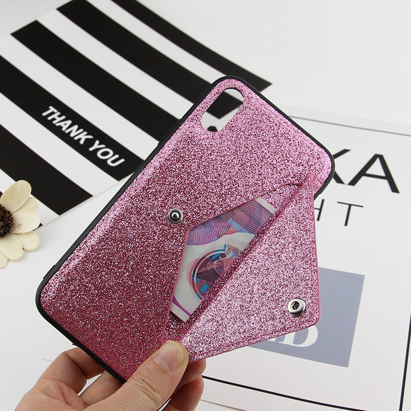 iPhone XS Max Bling Shockproof Wallet Stand Card Soft Case Cover