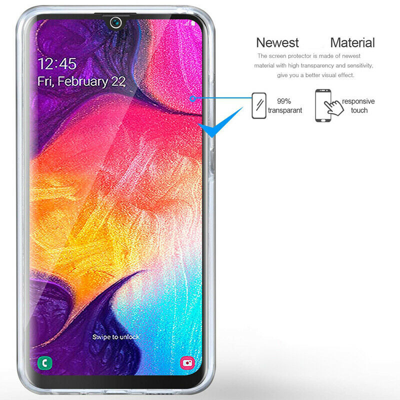 Samsung Galaxy A50 Case 360°Shockproof Full Soft Clear Silicone Cover