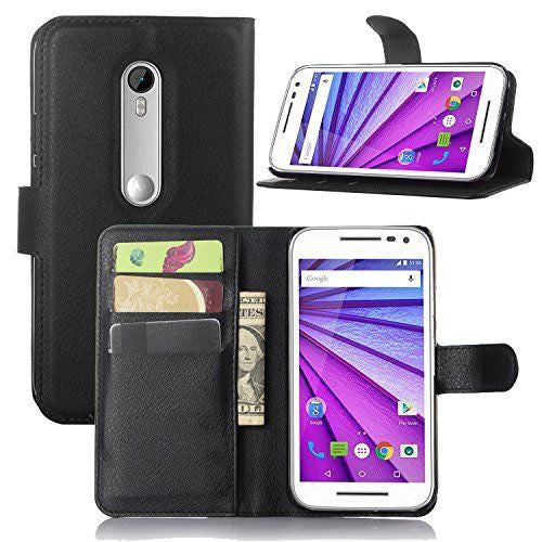 Wallet Flip Leather Case Cover for Motorola Moto G 3rd Gen 2015 (Black)