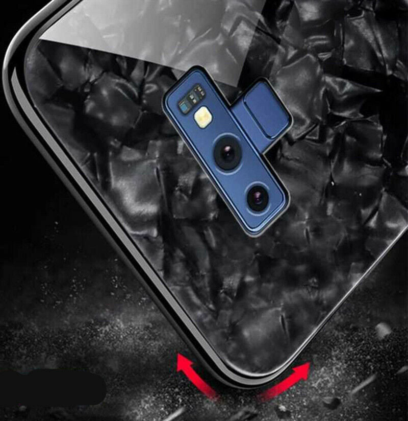 For Samsung S9 Plus Case Luxury Tempered Glass Back Shockproof Cover-Black