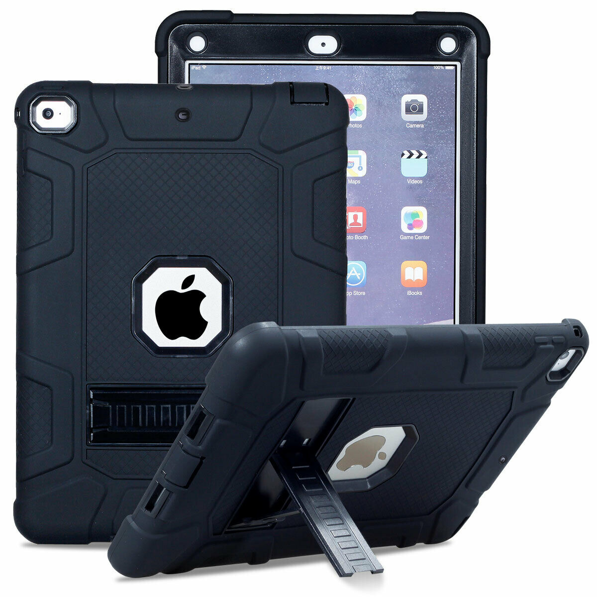 For iPad 6th 9.7'' 2018 Shockproof Rubber Stand Hard Case Cover