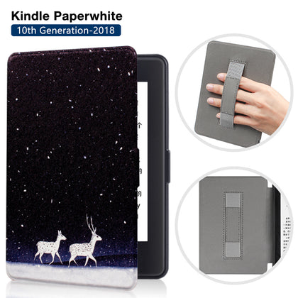Premium Quality Colorful Painting Leather Cover for Amazon Kindle Paperwhite 10th Generation-2018 with Hand Strap-Snow deer