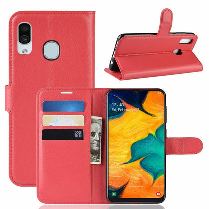 Samsung Galaxy A30 Wallet Leather Case Flip Magnetic Card Slot Cover-Red