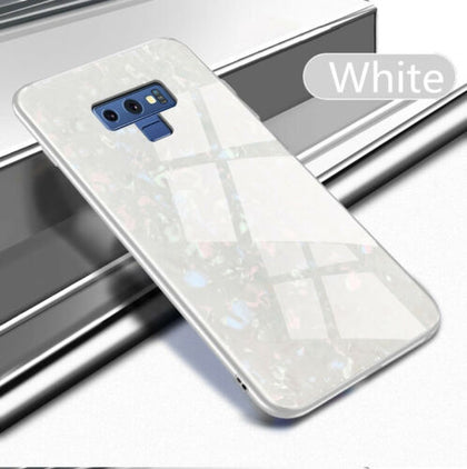 For Samsung S10 Plus Case Luxury Tempered Glass Back Shockproof Cover-White