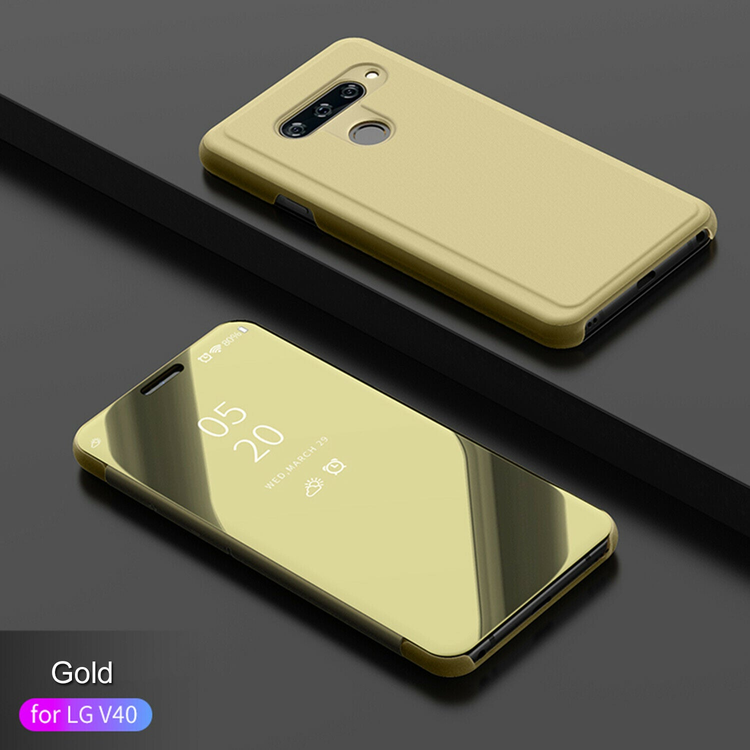 For LG V40 Case Luxury Ultra Slim Mirror View Thin Flip Stand Cover