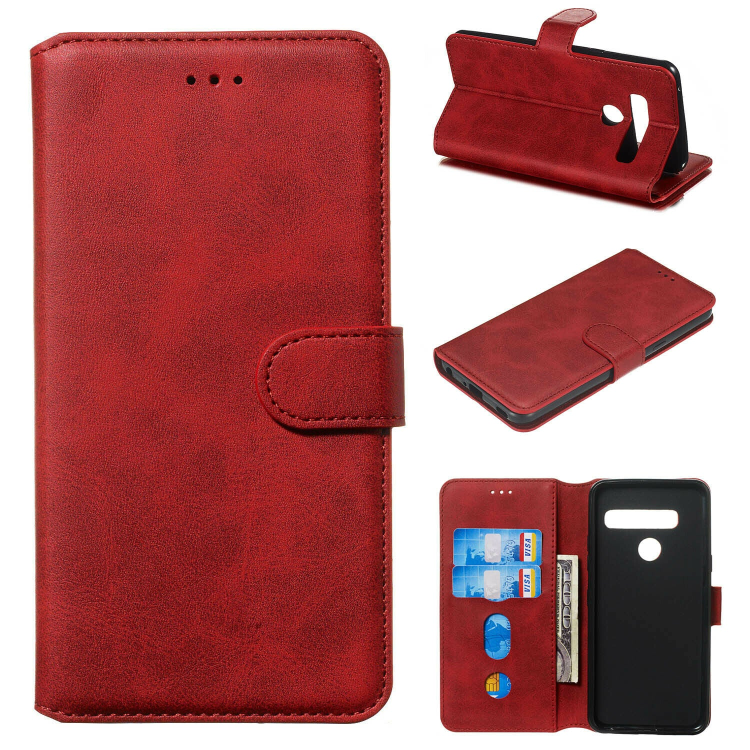 For LG K50 Luxury Wallet Leather Case Card Slots Cover